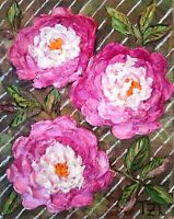 Peonies Original Oil Textured Impasto Painting small floral botanical art 8x10in