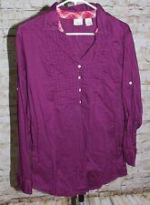 L.L. Bean Women Purple Cotton Tunic Blouse Collar Tuxedo Shirt Pleat Large Reg