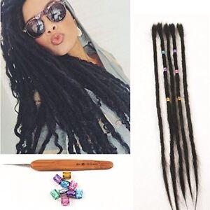"20"" Human Hair Dread Locs Handmade Dreadlocks Extensions 5PCS/PACK+Crochet Hook"