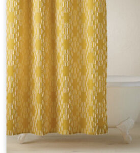 Opalhouse Jungalow Yellow Clipped Geo Shower Curtain New