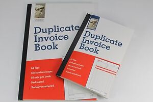 A5 OR A4 DUPLICATE CARBONLESS INVOICE BOOKS NCR. 50 PERFORATED SETS. LEONARDO.