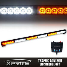 "38"" Inch Bright 36 LED White Amber Traffic Advisor Flash Strobe Light Bar Kit"