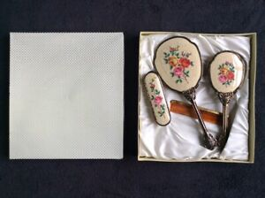 VINTAGE PETIT POINT 4 PIECE VANITY / DRESSING TABLE SET BOXED NEW