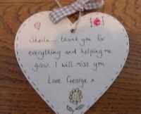 Nursery teacher pre school childminder personalised heart plaque keepsake gift