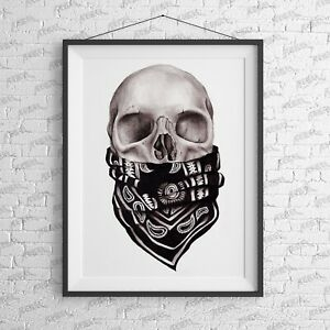 Biker Skull Art Print - wall art Alternative Sailor Jerry tattoo sword nautical