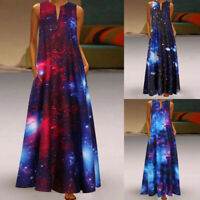 Womens Summer Kaftan Maxi Dress Casual Vintage Patchwork Printed Long Dresses