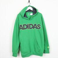 Vintage ADIDAS Big  Spell Out Logo Hoodie Sweatshirt Green | XL