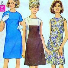 "Vintage 60s Mod A-LINE DRESS Sewing Pattern Bust 36"" Size 12 RETRO Seam Interest"