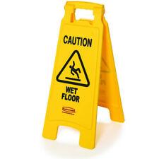 Rubbermaid Caution Wet Floor Plastic Floor Sign Bright Yellow 611277yw New