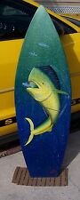 Mahi Surfboard Wall Art handcrafted painted wooden board surfing dolphin fish