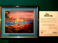 DUCKY AND PETRIE, LAND BEFORE TIME BLUTH STUDIOS KEY PRODUCTION CEL SETUP,FRAMED
