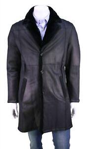 New! Kiton $39,000 Black Leather w/ Chinchilla Fur Lining Overcoat Men's US 40