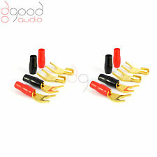 8 x USA Gold Plated SPADE Speaker Cable Connector for Audio, Hi-Fi, Amplifier