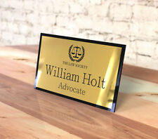 Executive Personalised Desk Name Plate, Custom Engraved Sign, Office, Logo