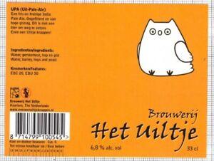 HOLLAND Micro,Brouwerij Het Uiltje UPA (Uil-Pale-Ale) owl beer label C2359 024