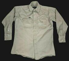 Walls Workwear Mens Medium Khaki Long Sleeve Heavyweight Pearl Snap Front Shirt