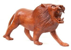 Large Wooden Lion 30cm Genuinely Hand Carved CLEARANCE