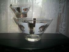 Mid Century Modern, FLEUR DE LIS Gold/FOOTED Chip/Dip Serving Bowl ~ 1950'S EUC