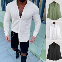 Men's Long Sleeve Casual Linen T Shirts V Neck Plain Button Down Blouse Tops Tee