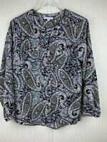 Notations Womens L Black Tan Paisley Print Button Up Blouse Top Roll Tab Sleeves