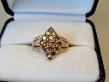 1.0 TCW Chocolate Diamond Cluster 10 Kt Yellow Gold, 3.5 Grams, Size 7.