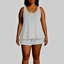 Ambrielle Sleepwear Shorts PJ Set White Bridal Cotton Plus Size XXL NWT