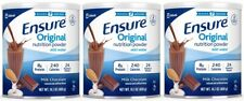 (3) Ensure Original Nutrition Powder Chocolate 14.1 Oz Free Shipping 10/2020