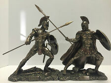 Hector & Achilles Unleashed SET W Sword & Shield Statue Sculpture Figurine Troy