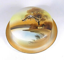 Noritake Tree In The Meadow Cottage Lake China Covered Butter Dish Gold Trim