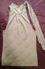 White House Black Market Women's Silver Gray Stretchy Knit Top w/Necksash Sz.XL