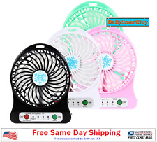 Portable Rechargeable LED Light Fan Air Cooler Mini Desk USB Fan +18650 Battery