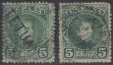 SPANISH MOROCCO TANGIER 1908 Sc 9 (2x) BLACK & BLUE HS' USED SCV$45.00+