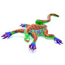 "Handmade Oaxacan Alebrijes Wood Carved Painted Folk Art Iguana Lizard 6"" Figure"