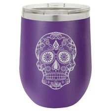 Stemless Wine Tumbler Coffee Travel Mug Glass Double Insulated Sugar Candy Skull