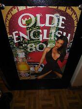 (VTG) OLD ENGLISH 800 MALT LIQUOR BEER SEXY GIRL & OLD CAR POSTER SIGN GAME ROOM