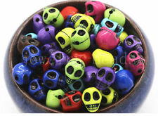 New 50pc Round Skull Colorful Acrylic Metal Enlaced Beads Mixed Color Craft 10mm