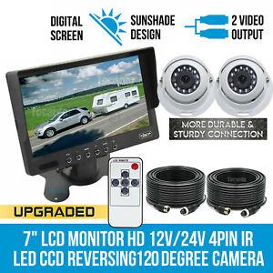 """7"""" Monitor HD 12V/24V Reversing CCD Eyeball Dome Camera IR Truck Caravan Van Kit"""