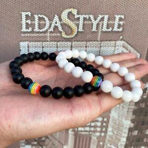2Pcs Women Men LGBT Gay Pride Peace Stone Beaded Bracelet Rainbow Couple Jewelry