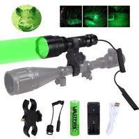 VastFire 5000LM Green LED Flashlight Hunting Torch Light Lamp 18650 Weaver Mount