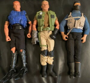 "GI JOE Poseable Action Figures Lot of 3 Vintage 12"" Military 1990s/2000s J"