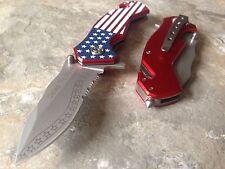 """7"""" TAC FORCE American Flag Half Serrated Spring Assisted Folding Pocket Knife"""