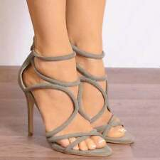 Party Faux Suede Strappy, Ankle Straps Slim Heels for Women