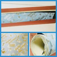 Vtg St Clair Gift Wrapping Box & Paper Metal Cutting Edge Blue Happy Birthday