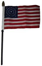 "Wholesale 12 34 Star USA Circular 4""x6"" Flag Desk Set Table Wooden Stick Staff"