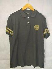Para Hombres Camisa Polo Negro Talla Xl Ajustada Negra Manga Corta oro
