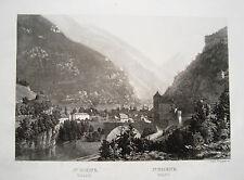 St. Moritz  Wallis Schweiz Eisenbahntunnel echter alter Stahlstich 1852