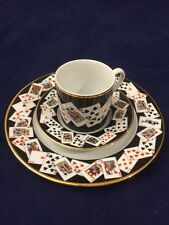 Tiffany & Co. Porcelain Playing Cards & Gold Rim Demitasse Cup and Saucer Trio