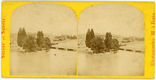 Stereo Suisse, Schweiz, Genève, Ile Rousseau et Pont du Mont Blanc, circa 1870 V
