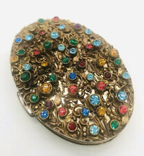 Beautiful Vintage DORSET 5th AVE Oval Rhinestone Powder Compact Ornate Filigree