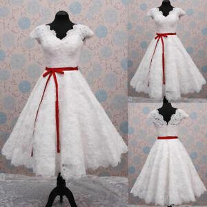 Short Knee Length Wedding Dresses Cap Sleeves V-Neck Lace Applique Plus Size